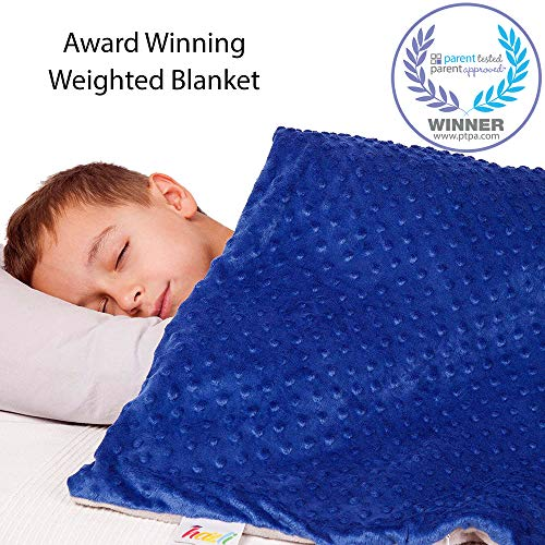 "Super Soft 7 Lbs Calming Weighted Blanket for Kids with Removable Cover - 41"" x 60"" Children Heavy Blanket for a Kids Between 60-80 lbs - Kid Comfort Sensory Blankets for Boys"
