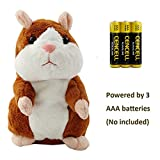 electronic animal toys - Talking Hamster Repeats What You Say Plush Interactive Toy, Talking Record Mimics Plush Animal Toy Electronic Pet Buddy Hamster Gift for Kids Children Christmas (Brown, Talking Hamster)