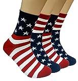JJMax Men's USA American Flag Cotton Blend Crew Socks, 2 Pair, One Size