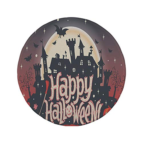 (Non-Slip Rubber Round Mouse Pad,Halloween,Medieval Gothic Castle with Happy Halloween Typography Stars Bats Moon)