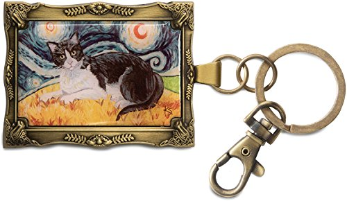 Palette Framed (Paw Palettes Gold Framed Black and White Cat Key Chain)