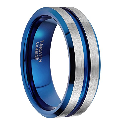 (8mm Tungsten Ring for Men Blue Thin Groove Line Dome Brushed Comfort Fit Wedding Band Size 11.5)