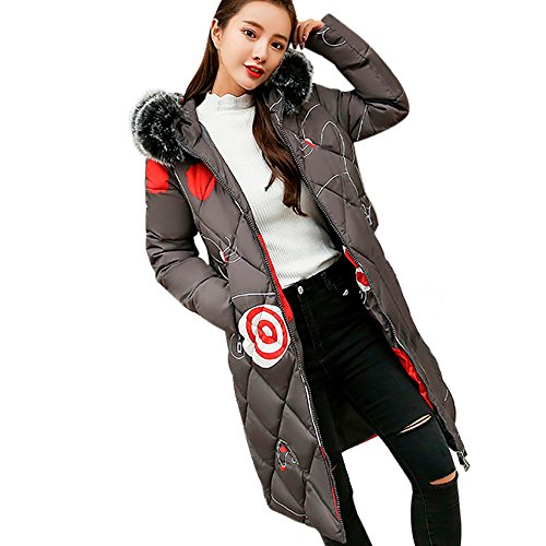 MIRRAY Ladies Girls Coat Winter Warm Thicker Casual Long Sleeve Long Jacket Fur Collar Hooded Overcoat Full Zipper Cotton Oversize Outwear with Pockets Grey
