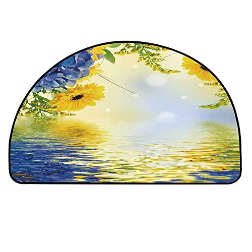 YOLIYANA Yellow and Blue Half Round Door Mat,Romantic Bouquet of Hydrangeas and Asters on Water Background for Indoor Outdoor,17.7