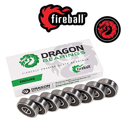 Fireball Dragon Precision Skateboard Bearings | 608 Bearing for Skateboards, Longboards, Inline Skates, Roller Skates, Spinners (Endure, 8-Pack)