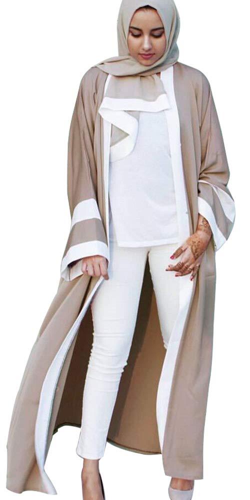 YI HENG MEI Women's Modest Muslim Islamic Open Front Long Maxi Abaya with Hijab and Belt,Khaki,Tag S = US Size 4