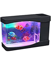 Playlearn Mini Aquarium Artificial Fish Tank with Moving Fish – USB/Battery Powered – Fake Aquarium Toy Fish Tank with 3 Fake Fish