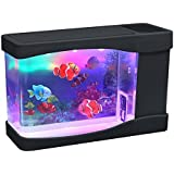 Playlearn Mini Artificial Fish Tank with Moving Fish – USB/Battery Powered – Fake Aquarium Toy Fish Tank with 3 Fake…