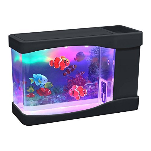 Artificial Mini Aquarium Fish Tank Color LED Swimming Fish Tank with 3 Fake Fish - by -