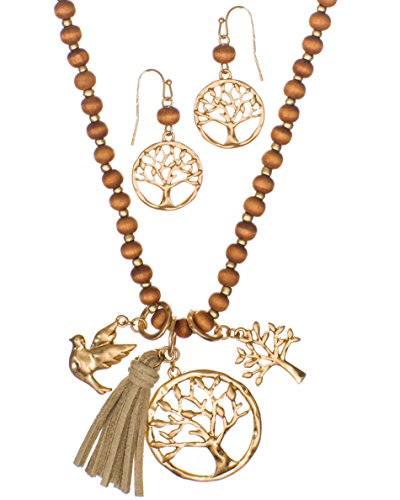 Jewelry Nexus Long Rosary Gold-Tone Tree of Life & Bird Necklace & Earring Set Wooden Beads & Faux Leather Tassle