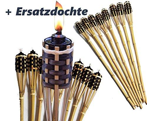 8X Stück Bambusfackel mit verblendeter Lampenfassung Gartenfackel 90 cm ,mit eingesetztem Docht inklusive Ersatzdochte ( Fackel + Ersatz Docht ) (8, Beige)
