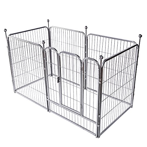 okdeals Heavy Duty Pet Playpen,6 Panel Folding Metal Dog Exercise Fence Door fit Indoor Hall Doorway Stairs, Fits Small Medium Animals -