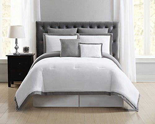 Truly Soft Everyday Hotel Border Duvet Set 7 Piece, King, White/Grey by Truly Soft Everyday