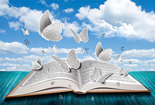 CSFOTO 5x3ft Background for Open Book with Butterflies Letters Blue Sky Photography Backdrop Blue Wood Floor Study Knowledge Power Learn Magic White Flaky Photo Studio Props Polyester Wallpaper (Letter White 3')