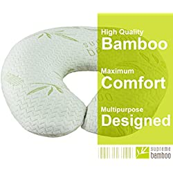"""Supreme Bamboo Nursing Pillow for Baby Breastfeeding   Large 20"""" x 19"""" Cushion   Machine Washable Slip-On Protective Cover   Infant Support Pillow"""