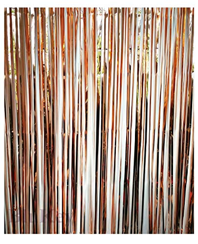 Blukey Foil-Fringe-Curtain-Backdrop-12FTx8FT-Rose Gold-Metallic Tinsel Photo Booth Wedding Props Glitter Party Background Decorations (12FTx8FT, Rose Gold) for $<!--$18.97-->