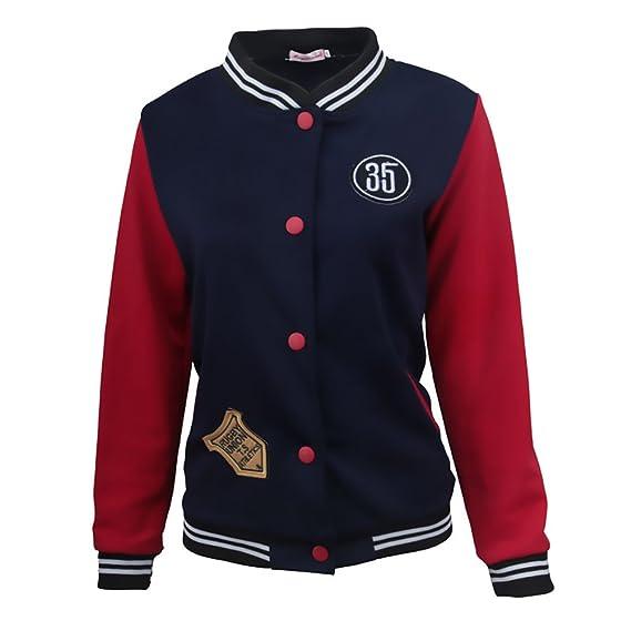 Mujer Chaquetas Universitarias Invierno Otoño Béisbol Varsity Deporte Casual Jacket Abrigos Elegantes Manga Larga Slim Fit Stand Cuello Con Botones Bordado ...