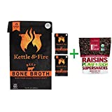 Kettle & Fire, Bone Broth, Beef, 16.9 oz (480 g)( 3 PACK ) + Made in Nature, Organic Raisins, 9 oz (255 g)