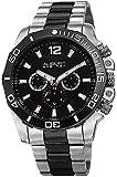 August Steiner Men's AS8113TTB Swiss Quartz Multifunction Black Dial Silver-tone & Gun Bracelet Watch