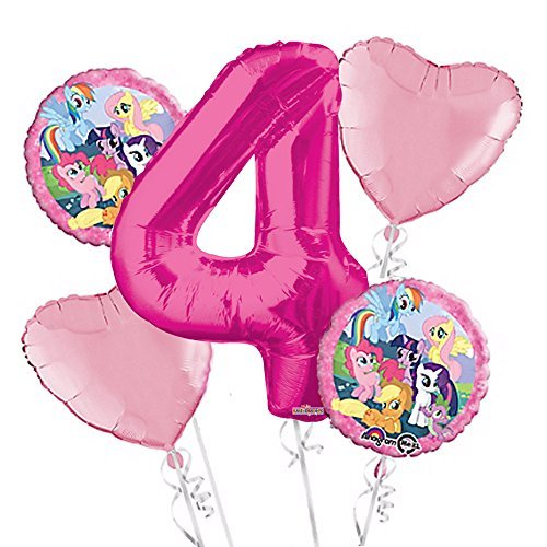 My Little Pony Balloon Bouquet 4th Birthday 5 pcs - Party Supplies Pink]()