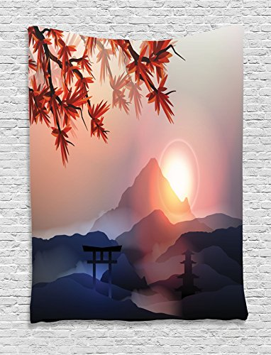 Ambesonne Asian Tapestry, Majestic Himalayas Peaks Tops Silhouette of Sun Life Circle Symbol Culture Artwork, Wall Hanging for Bedroom Living Room Dorm, 40 W X 60 L Inches, Pink Blue