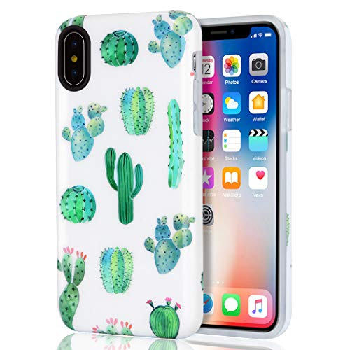 iPhone X Case, iPhone XS Case, iPhone 10 Case, Girls Women White Green Cactus Best Protective Bumper Slim Fit Heavy Duty Cute Thin Soft Clear Silicone Rubber TPU Cover Phone Case for iPhone X/XS