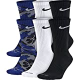 NIKE Unisex Everyday Max Cushion Crew Socks (6 Pairs), Blue Camo/White/Black, Large