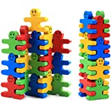 Develops Fine Motor Skills & Hand-Eye Coordination, Wooden Balance Stacking Blocks -- Human Shaped Building Blocks Puzzle Balance Game