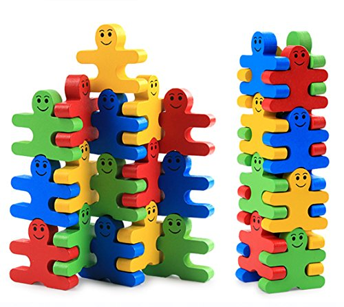 Develops Fine Motor Skills & Hand-Eye Coordination, Wooden Balance Stacking Blocks -- Human Shaped Building Blocks Puzzle Balance Game by BabyPrice
