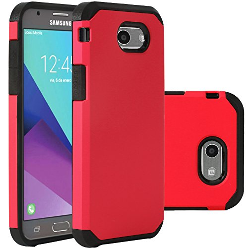 Red Samsung Galaxy J3 Emerge Case/J3 Prime/J3 2017/Amp Prime 2/Express Prime 2/Sol 2/J3 Luna Pro/J3 Eclipse/J3 Mission Case, LUHOURI Hybrid Armor Rugged Defender Protective Case Cover Red