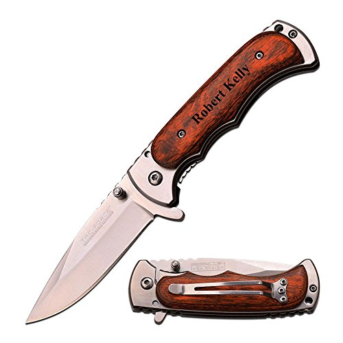 """TAC Force Free Engraving - 4"""" Closed Quality Wood Handle Knife"""