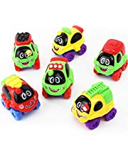 BAOZHONGDA Kids Racing Cars Mini Cars Cartoon Cars 6 pack,Pull Back Car and Go Vehicles Set,Gifts for Boys for Girls of Technical Baby Toy Vehicle