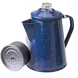 GSI Outdoors Enamelware Percolator Coffee Pot, 8-Cup, Blue