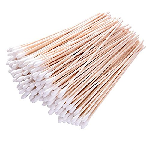 Long Cotton Swabs, 6 Inch 200 Pieces Applicator Single Tip with Wooden Handle, Accessory For Gun Cleaning, Jewelry, Ceramics, Electronics, Fabric Decoration, Arts and Crafts, Cats and Dogs