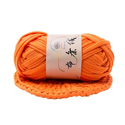 (T-Shirt Yarn Fettuccini Zpagetti Style Crocheting Ribbon Yarn Knitting Yarn Ball Macrame T-Yarn Thick Fabric Yarn Orange)