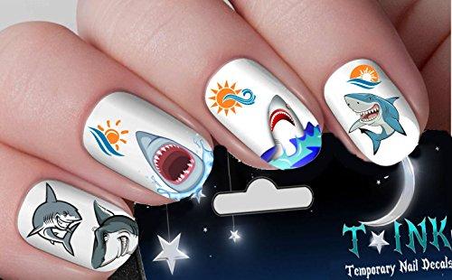 Shark Week Set Mixture assortment Nail Art Wraps Water Transfers Nails Decals Nail Stickers TI86