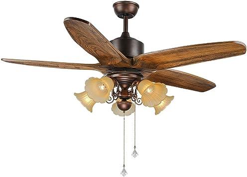 LuxureFan ventilador de techo rústico con 5 luces y 5 aspas de ...