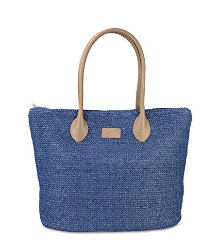 Hoxis Weekender Lightweight Synthetic Straw Shopper Tote Womens Shoulder Handbag (Shopper Tote Handbag)