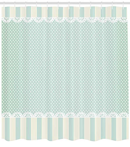 Stripes Shabby Chic - Ambesonne Shabby Chic Shower Curtain, Traditional Old Fashioned Vertical Stripes Ornaments and Dots, Fabric Bathroom Decor Set with Hooks, 70 Inches, Almond Green Cream White
