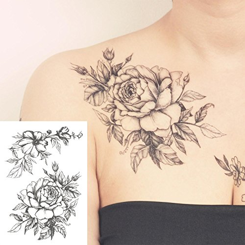 COKOHAPPY Temporary Tattoo Rose Floral Flower Black & White – set of 5 Pcs