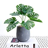 DODXIAOBEUL 14 inch Tropical Leaves Potted Artificial Simulation Tropical Palm Monstera Fake Plant Decorative Lifelike Flower Green Plants with Round Cement Pot, Green
