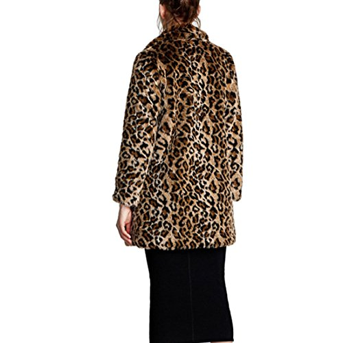 1b5d49b88f97 ... Women Warm Long Sleeve Parka Faux Fur Coat Overcoat Fluffy Top Jacket  Leopard. Sale