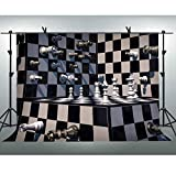FLASIY 10x7ft Black and White Grid Backdrop Checkers Chess Board Photography Background Photo Booth Studio Props LHAY961