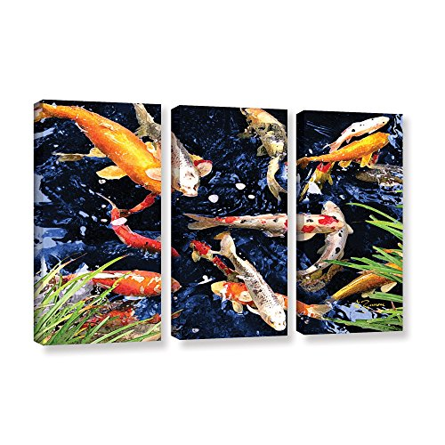Art Wall 3-Piece Koi by George Zucconi Gallery Wrapped Canvas Artwork, 36 by (Tri Panel Wall)