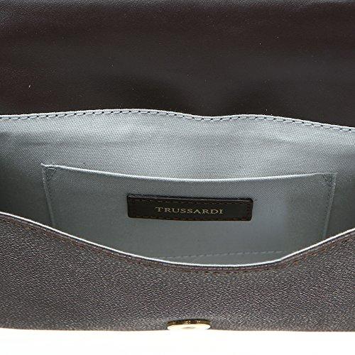 de Marron dollars Body Mod embrayage authentique Cm Trussardi 20x16x5 veau Cross Femme 76B113M cuir en en foncé Z8xfUFA