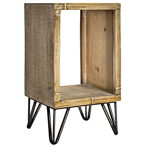 "Cheap American Art Décor Rustic Wood and Metal Small End Table with Storage Sheves – Farmhouse Décor (21"")"