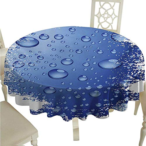 - Grunge Decorative Textured Fabric Tablecloth Wet Surface Inspired Bubble Water Rain Drop Crystals Freshness Symbol Artsy Design Washable Polyester - Great for Buffet Table, Parties, Holiday Dinner, W