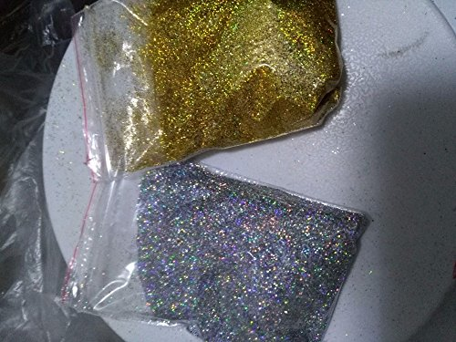 10g/bag Diamond Holographic Glitter Ultra Fine .008, Silver and gold rainbow glitter, loose glitter,UV gel nail glitters LB1001