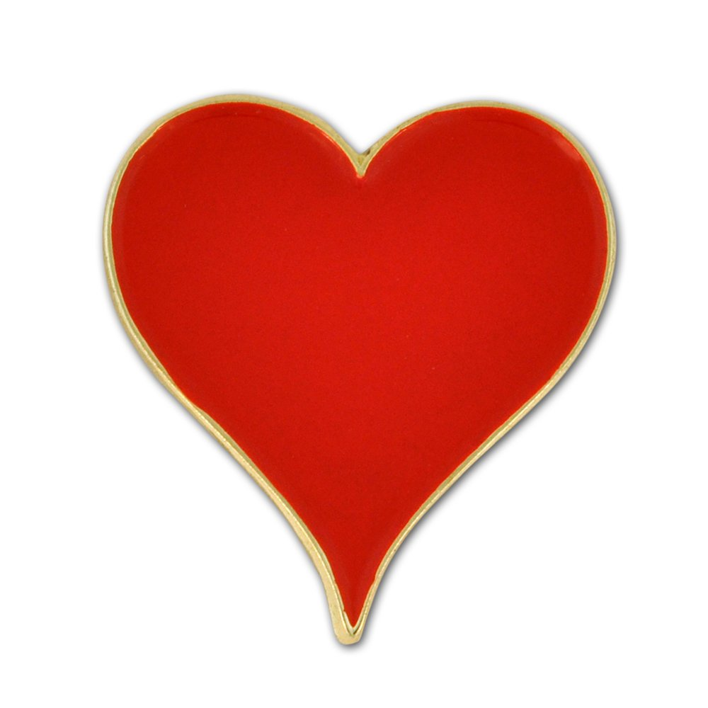 PinMart's Playing Cards Red Hearts Suit Enamel Lapel Pin