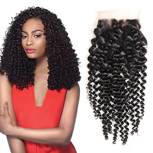 Bestsojoy Hair 10A Brazilian Virgin Hair Curly Closure 100% Unprocessed Human Hair 4×4 Free Part Brazilian Kinky Curly Lace Closure Natural Color (10″ closure)